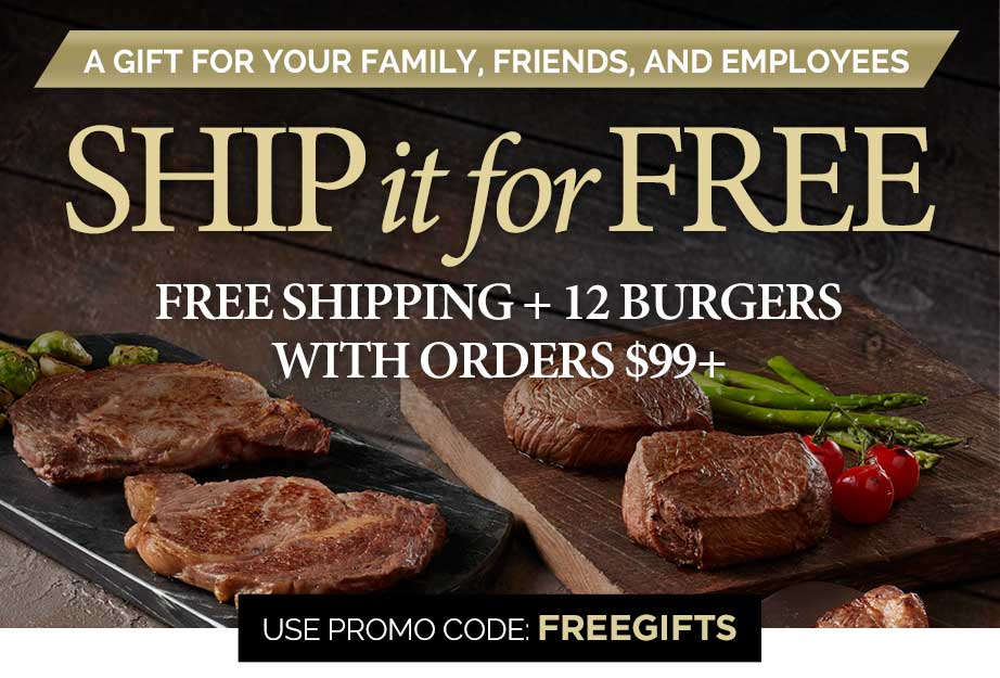 Send a care package, get free shipping and 12 free burgers with promo code FREEGIFTS for all orders $99 and up