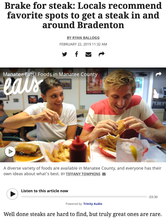 Screenshot of the article with title: Brake for steak: Locals recommend favorite spots to get a steak in and around Bradenton and video of two people eating in Manatee County