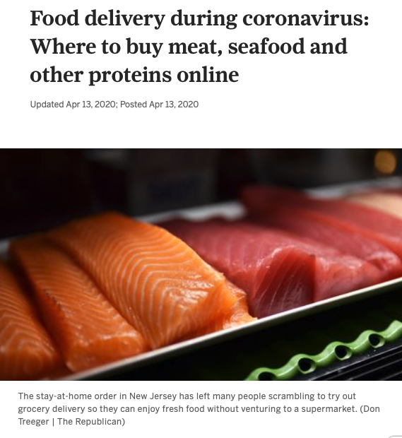 Screenshot of the article with title: Food delivery during coronavirus: Where to buy meat, seafood and other proteins online and picture of a fish fillet