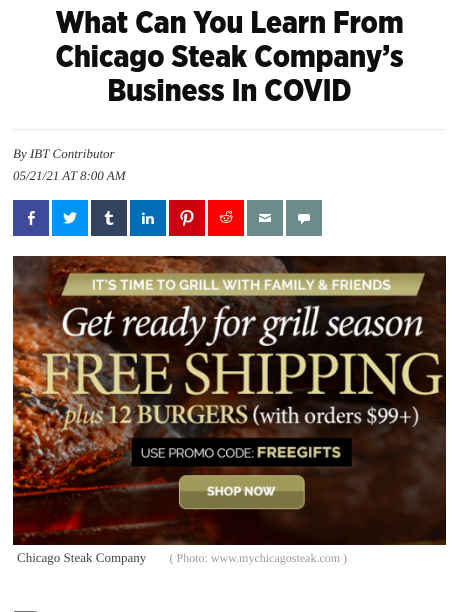 Screenshot of the article with title: What Can You Learn From Chicago Steak Company's Business In COVID and banner with text: Get ready for grill season