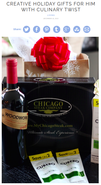 Screenshot of the article with title: Creative Holiday Gifts for Him with Culinary Twist and picture of Chicago Steaks Company gift package