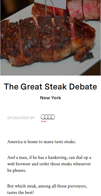 Screenshot of the article with title: The Great Steak Debate and picture of a chopped meat