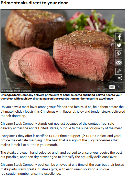Screenshot of the article with title: Are you ready for Christmas? From a prime steak delivery service to a  getaway gift for travel lovers, 10 top brands you need to know about this holiday season and picture of a chopped meat