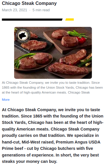 Screenshot of the article with title: Order Your Steaks Online: Flavor and Convenience At the Click of a Button and picture of meat