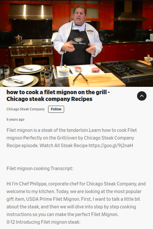 Screenshot of a video with a title: How to cook a filet mignon on the grill - Chicago steak company Recipes