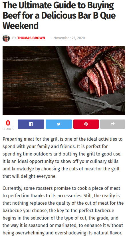 Screenshot of the article with title The Ultimate Guide to Buying Beef for a Delicious Bar B Que Weekend and a picture of a chopped meat